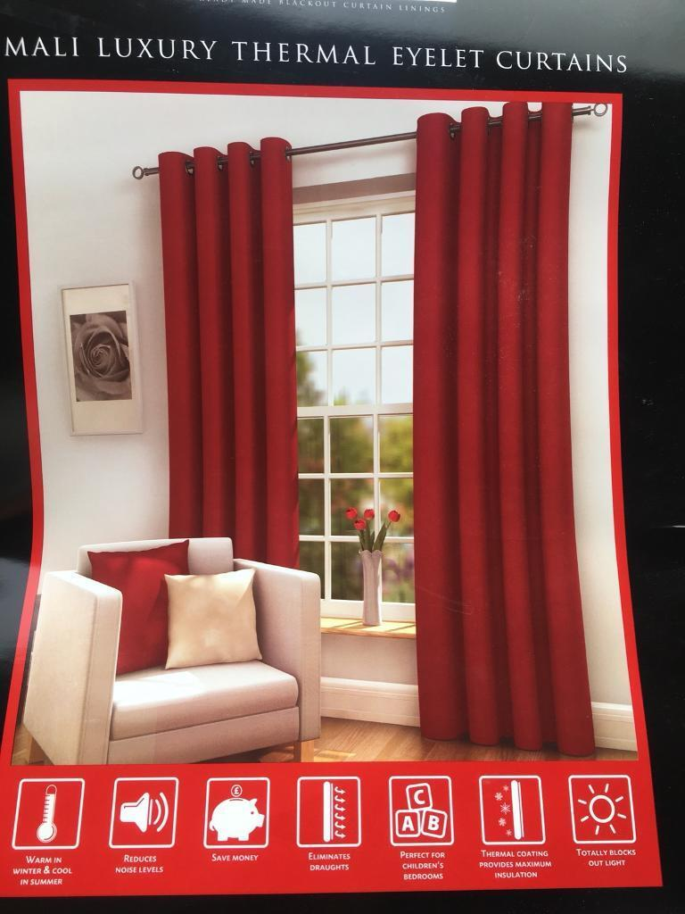 Red 90 X Blackout Curtains New
