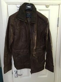 Mens Next Brown Real Leather Jacket - Medium
