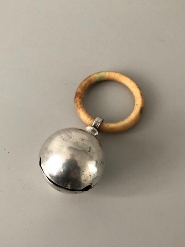 Hallmarked Silver Bell Baby Rattle Teether Birmingham 1914