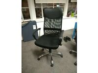 Adjustable black office chairs with mesh back (8 available)