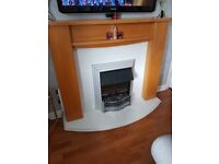 Electric marble base fireplace