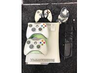 Xbox 360 console, 3 controllers, hard drive, rechargeable battery pack