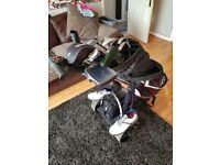 Full set of Wilson golf clubs plus battery trolley and shoes size 9. Plus balls and glove.