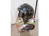 motorbike open face helmet size large dark blue