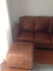 """3 seater and 2 seater """"peyton"""" leather sofa+storage pouffe.Two years old, have all papers, from Dfs"""