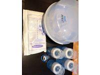 Avent bottles, microwave steriliser, dummy, milk storage bags
