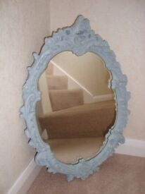 Shabby Chic ornate mirror painted in Annie Sloan 'Duck Egg Blue'