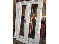 New White UPVC French Patio Door Glass 1455mm W x 2060mm H