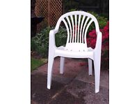 WHITE GARDEN CHAIRS - plastic, stackable - as new - £5 each