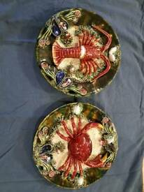 Pair of Palissy Style Majolica Lobster and Crab Wall Plates c 1920