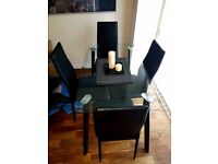 Glass Dinning Table with 4 chairs
