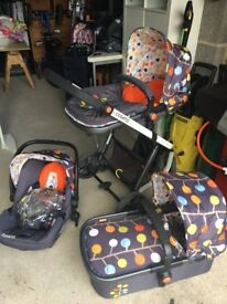 Cosatto travel system; pram, pushchair and car seat