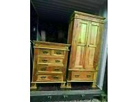 CAN DELIVER- INDIAN ROSEWOOD SHEESHAM WARDROBE + CHEST OF DRAWERS IN VERY GOOD CONDITION