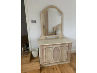 Beautiful Cream Bedroom Furniture - Bed, Wardrobe, 2 bedside tables and dressing table
