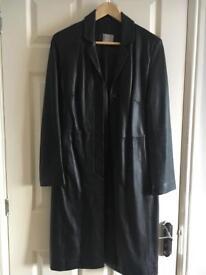 Ladies leather coat, black, Oasis size 10