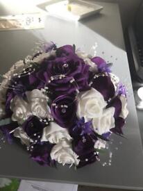 Purple flower wedding centre pieces