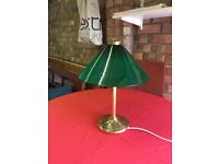 Green and brass table lamp