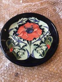 Beautiful Large Moorcroft Pottery Poppy Plate Designed By Rachel Bishop