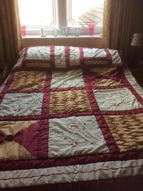 Patchwork bedspread and matching pillowcases