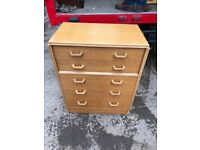 Pair Early gplan oak chest of drawers