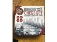 Glass draughts and chess set