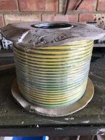 3 x 100 metre drums of 10mm green/yellow earth cable