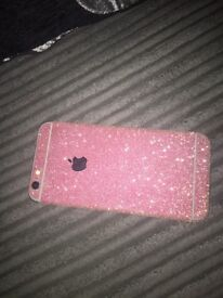 I phone 6 on EE with pink glitter skin