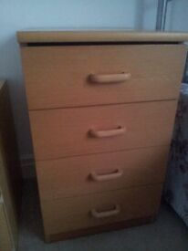 Bedside cabinet (Beech effect--4 drawers)