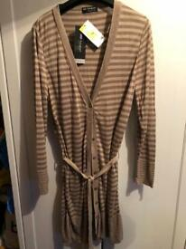M&S Autograph long belted cardigan with silk size 16 new