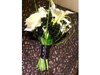 Bridal bouquet silk flowers in cream and black