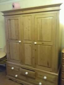 Antique Solid Pine Three Door Wardrobe/Cupboard with draws under