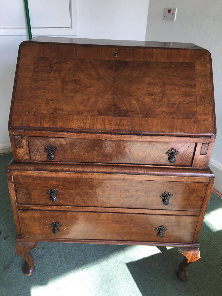 Walnut Antique Bureau With Queen Anne Legs Writing Desk Storage