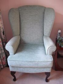 High Wing Back Chair with Queen Ann Legs