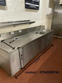 stainless counter with twin sink