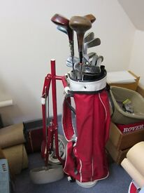 Various golf clubs and a golf caddy