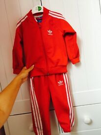 Red adidas 9-12 months tracksuit