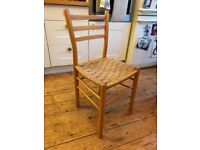 Four Solid Wood Heal's Kitchen / Dining Chairs With Woven Rattan Wicker Seats