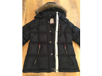 Ladies Crew Clothing padded coat size 10 blue / black GUC