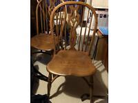 Set of 6 antique elm stick back chairs.