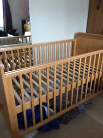 Cot bed and Moses basket for sale