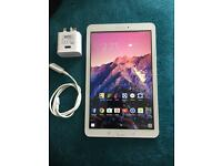 Samsung galaxy tab E 9.7 inch screen. in peal white free movies