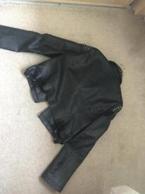 Black silver stud leather jacket size 14