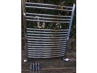 Chrome towel radiator with fittings & valve 60x75cm