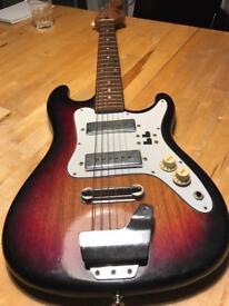 Vintage early 70s Teisco Satellite strat shape guitar