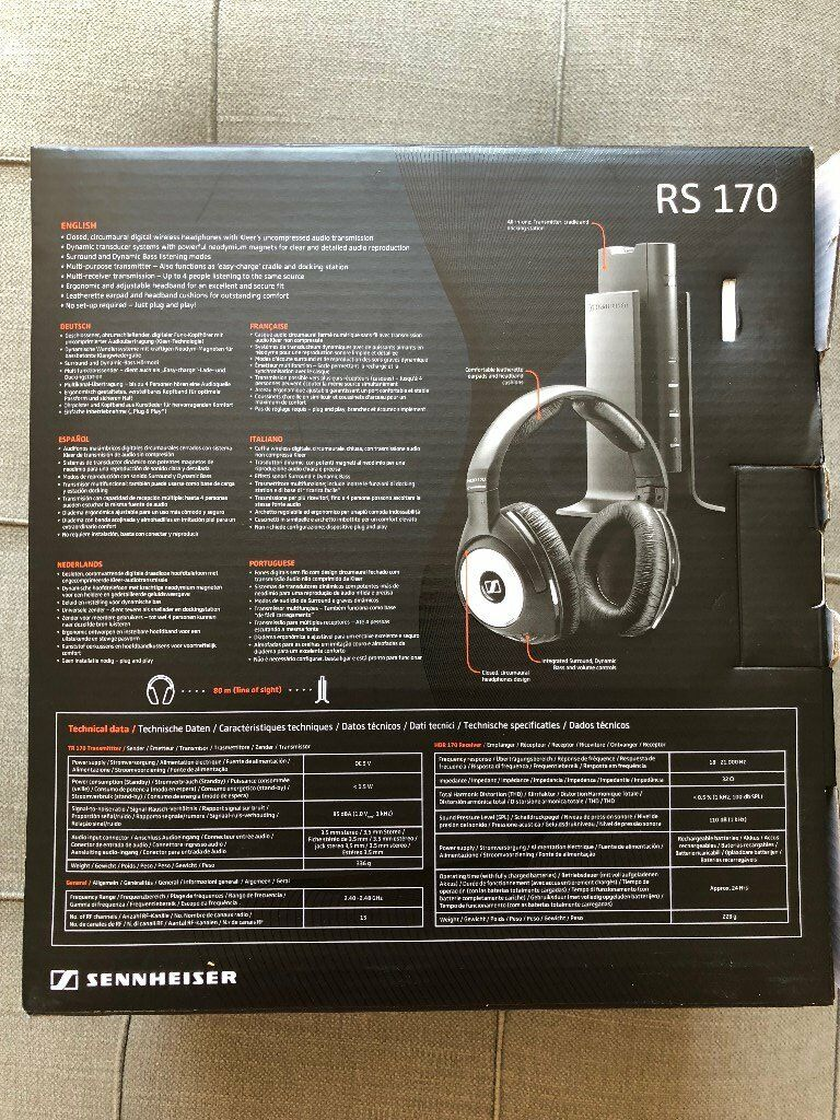 Sennheiser Rs 170 Closed Digital Wireless Over Ear Headphone 175 Rs175 Black