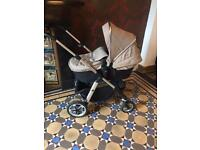 Silver Cross (Silvercross) Pioneer Pram and Pushchair in excellent condition, sand/ black colour