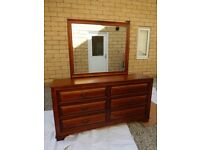 Solid Wood Dresser with Mirror and 6 Large Drawers