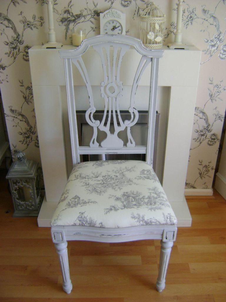 Lovely vintage french shabby chic grey scroll back chair for Toile shabby chic