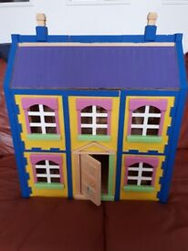 Chad Valley wooden house with figures and furniture, tastefully decorated!