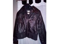 Black leather bomber jacket size 12 for sale